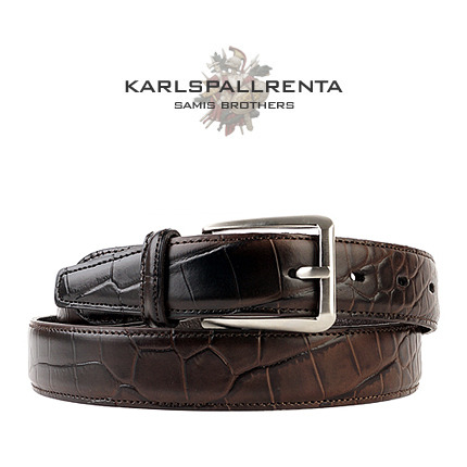 -K.S- 88776 italy real leather 크로커다일 리얼태닝 캐쥬얼 벨트 (Dark Brown)