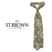 - ST.BROWN -85132 Cotton Camouflage tie (Khaki)
